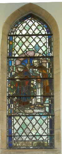 The right window shows a woman coming from the church, fully equipped with the new knowledge, and accompanied by the protection and blessing of Saint Columba as the patron saint of the Scottish Church.